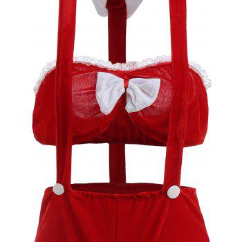 Two Piece Costume Holiday Velvet - Rouge ONE SIZE