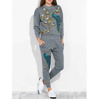 Peacock Embroidery Knit Top and Pants Set