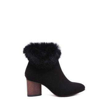 Pointed Toe Faux Fur Zipper Ankle Boots