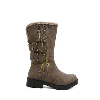 Buy Platform Zippers Double Buckle Mid Calf Boots KHAKI