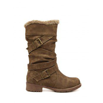 Pleated Double Buckle Mid Calf Boots