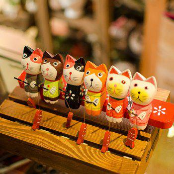 Kawaii Cat Fishing Wooden Craft 6PCS A Set