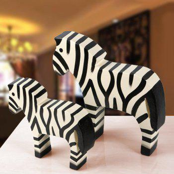 2PCS Wedding Party Decor Colored Drawing Wood Zebra Craft