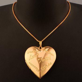 Letter Engraved Heart Pendant Necklace