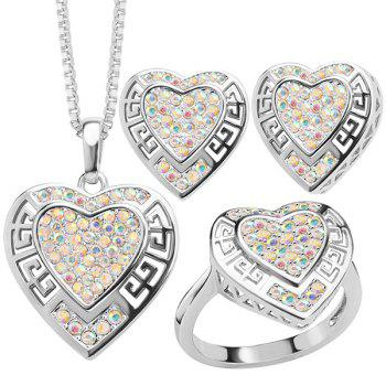 Rhinestone Heart Hollow Out Jewelry Set
