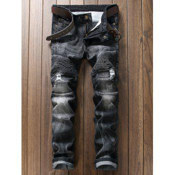 Plus Size Rib and Holes Design Zipper Fly Straight Leg Jeans