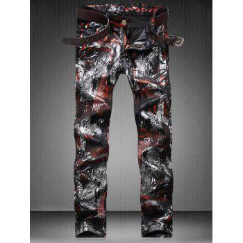 Plus Size Color Block Abstract Print Zipper Fly Straight Leg Jeans