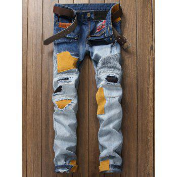 Buy Plus Size Rib Holes Design Patch Zipper Fly Narrow Feet Jeans BLUE
