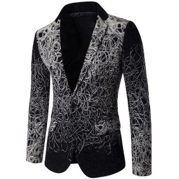 Buy Lapel Yarn Design Plus Size Single Breasted Blazer BLACK