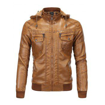 Flocking Detachable Hooded PU Leather Thicken Jacket