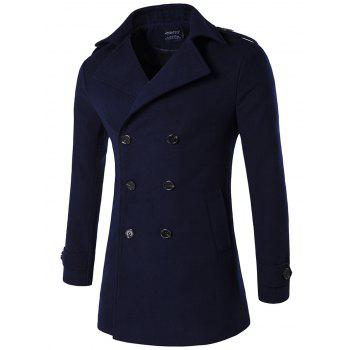 Double Breasted Plus Size Epaulet Woolen Blends Coat