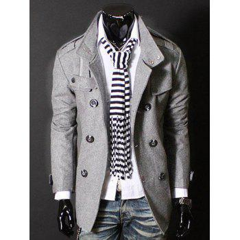 Zipper Design Epaulet Double Breasted Wool Blends Coat