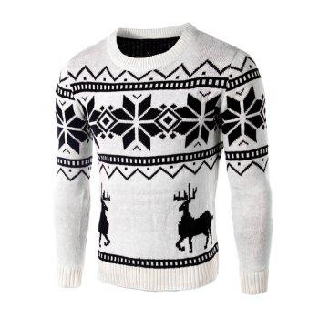 Long Sleeve Deer and Snowflake Pattern Sweater