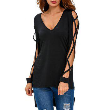 Hollow Out Asymmetrical Side Slit Tee