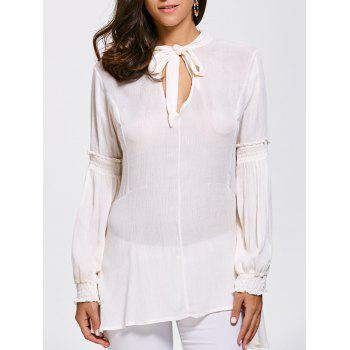 Lace Up High Tow Openwork Blouse