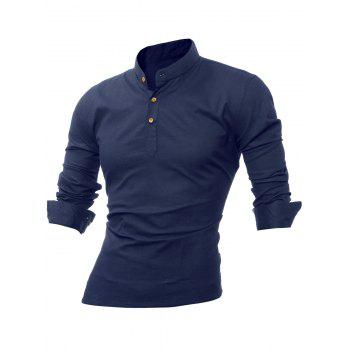 Buy Long Sleeve Mandarin Collar Button Tee PURPLISH BLUE