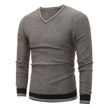 Striped V Neck Pullover Cricket Sweater