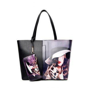 Painted PU Leather Shoulder Bag With Wristlet
