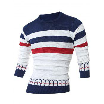 Jacquard Striped Crew Neck Pullover Sweater