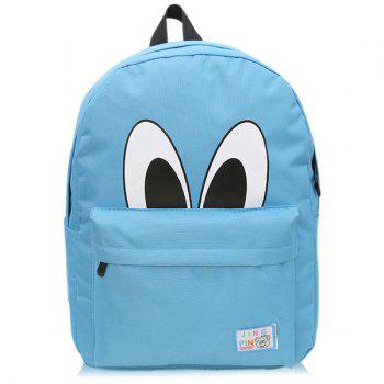 Cartoon Eyes Print Nylon Backpack
