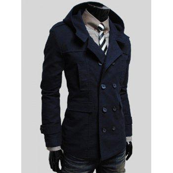 Flap Pocket Hooded Double Breasted Jacket