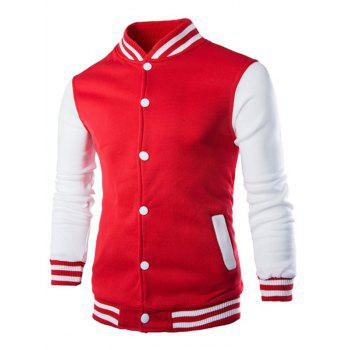 Stand Collar Color Block Striped Baseball Jacket