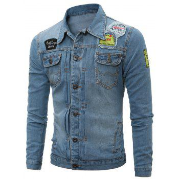 Distressed Patch Design Pleated Denim Jacket