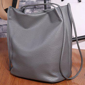 Concise Textured PU Shoulder Bag