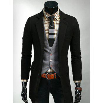 Single Breasted Lapel Flap Pocket Design Coat