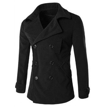 Back Furcal Turndown Collar Double Breasted Coat