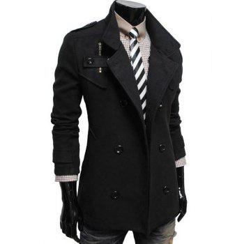 Double Breasted Stand Collar Zip Embellished Coat