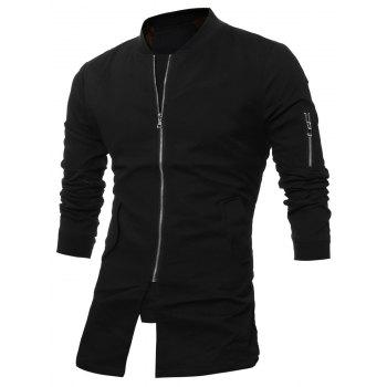 Slim Fit Stand Collar Zipper Up Coat