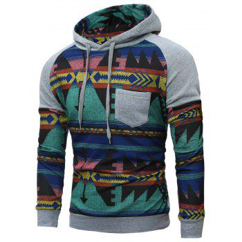 Raglan Sleeve Tribal Printed Pullover Pocket Hoodie