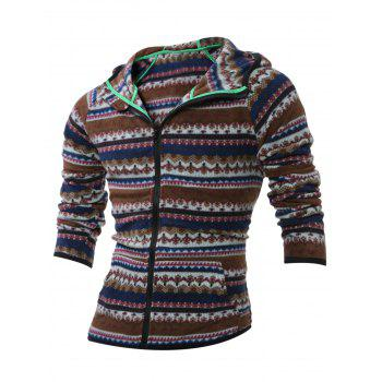 Tribal Printed Zipper Up Hoodie