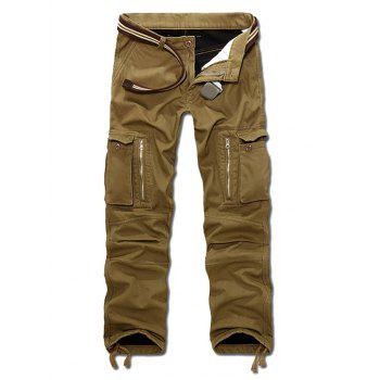 Drawstring Cuff Zipper Pocket Straight Cargo Pants