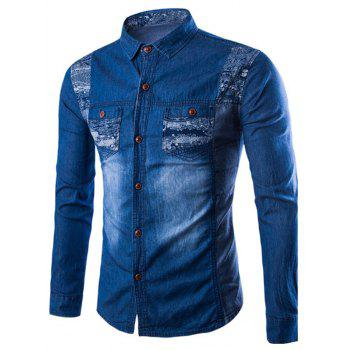 Long Sleeve Printed Pocket Denim Shirt