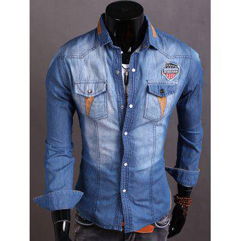 Long Sleeve Patch Design Suede Insert Denim Shirt