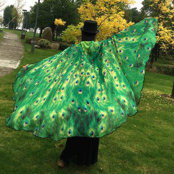 Peacock Feather Wing Cape Pashmina - GREEN