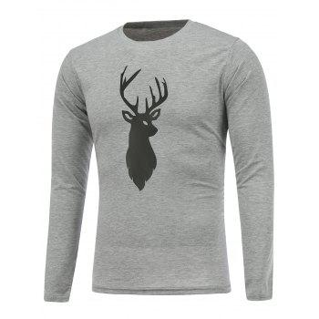 Crew Neck Deer Print Christmas T-Shirt