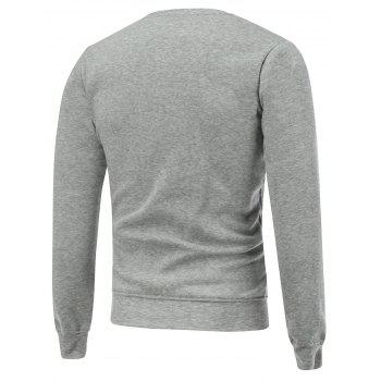 Crew Neck Print Christmas Sweatshirt - GRAY S