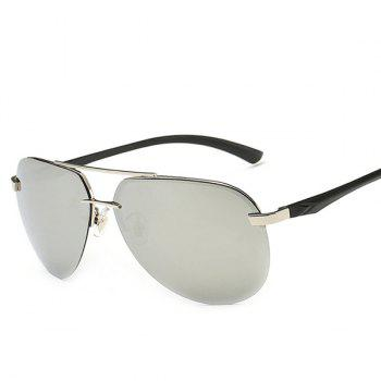 Chunky Leg Cross Bar Pilot Miorrored Sunglasses -  SILVER