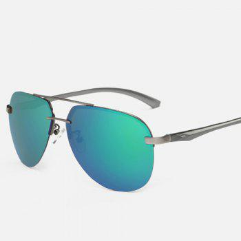 Chunky Leg Cross-Bar Pilot Miorrored Sunglasses - GREEN GREEN