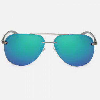 Chunky Leg Cross-Bar Pilot Miorrored Sunglasses -  GREEN