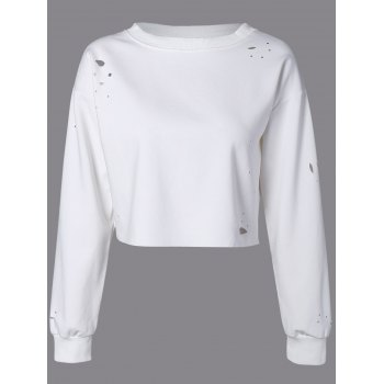 Goutte d'épaule Plaine Distressed Sweatshirt des cultures
