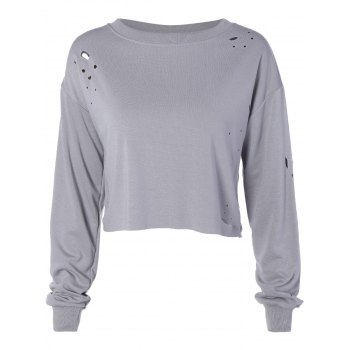 Drop Shoulder Plain Distressed Crop Sweatshirt