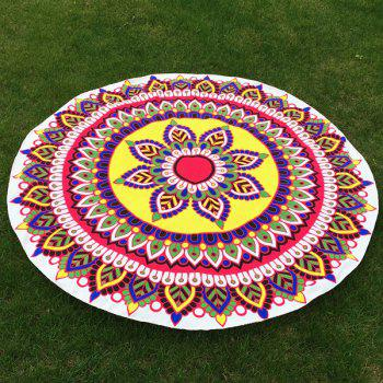 Ethnic Flower and Leaf Print Round Beach Throw
