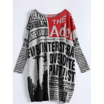 Buy Plus Size Newspaper Print Ribbed Sweater GRAY