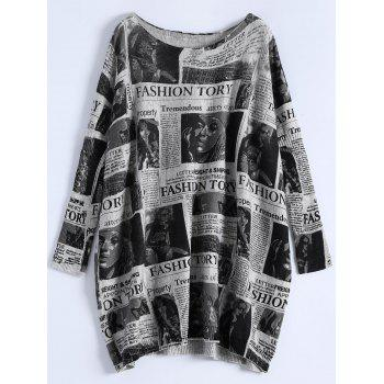 Plus Size Ribbed Newspaper Pattern Sweater