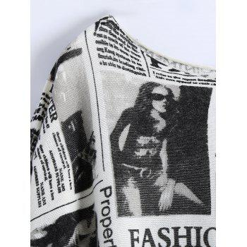 Plus Size Ribbed Newspaper Pattern Sweater - WHITE ONE SIZE