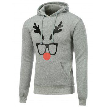 Hooded Christmas Deer Horn Print Long Sleeve Hoodie